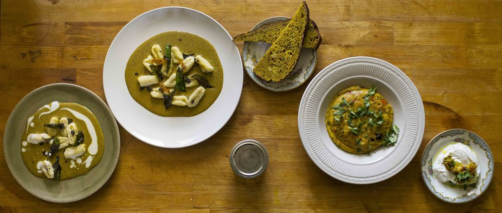 From left: Yukon Gold Gnocchi with Coconut and Fermented Lemon Pickle Curry, Polenta Mustard Tadka Sourdough Toast, Habanero Upma with Peas, Cashews and Mustard, Yogurt with Pickle.