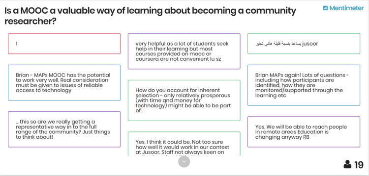 """A screenshot from Mentimeter of workshop participants' answers to the question """"Is a MOOC a valuable way of learning about becoming a community researcher?"""""""