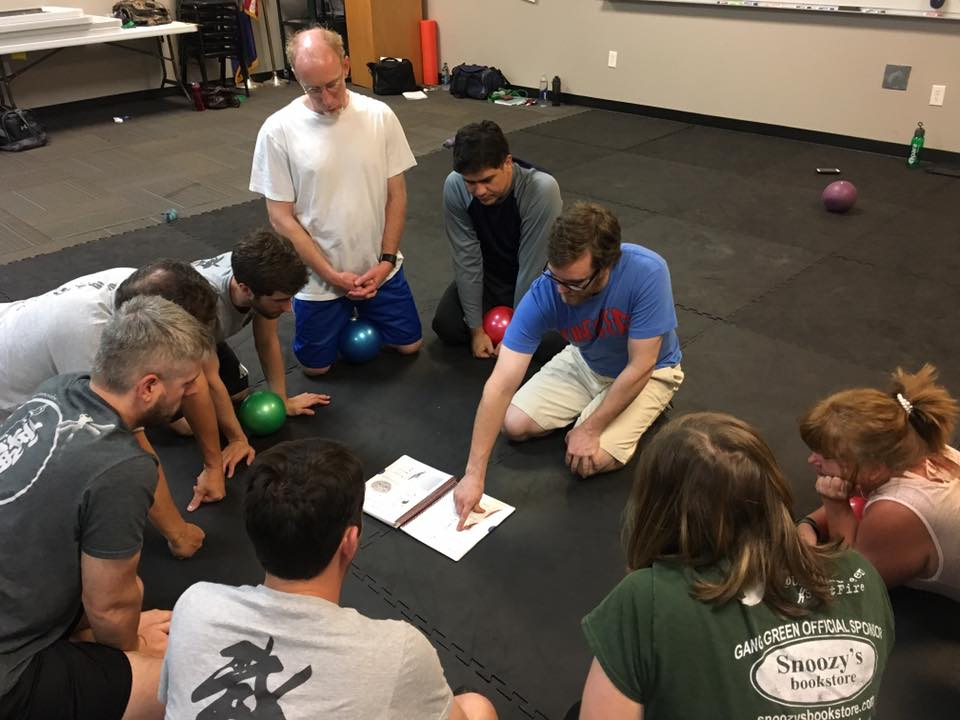 Leading a Movement and Mobility seminar involves showing people the anatomy they are attempting to change, and then having them feel it on themselves to become more in-tune with their own body. Learn your body better, learn to maintain it better.