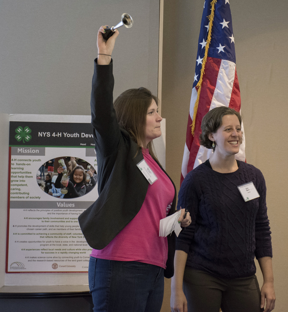 Alexa Maille (4-H) and Jennifer Agans (PRYDE) co-leading an exercise at an event