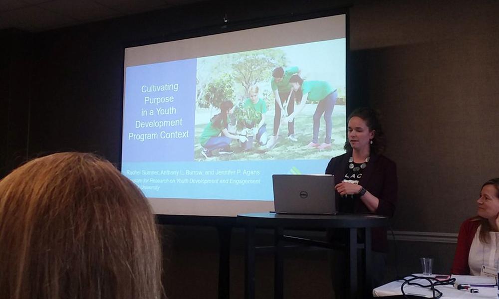 PRYDE postdoc Rachel Sumner presenting