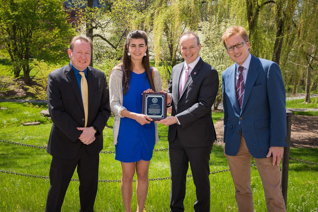 From left, Town of Dryden Supervisor Jason Leifer, Greta Sloan '18, Cornell Vice President for University Relations Joel Malina and Town of Dryden Deputy Supervisor Dan Lamb.