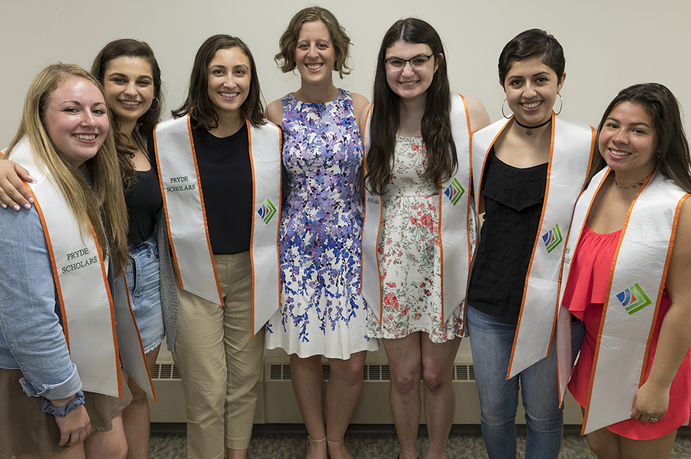 Graduating PRYDE Scholars: Saige Connor, Julia Lesnick, Monica Wassel, Jen Agans (PRYDE assistant director), Emily Rosenthal, Rosario Majano, and Vanessa Chicas (not pictured, Greta Sloan)