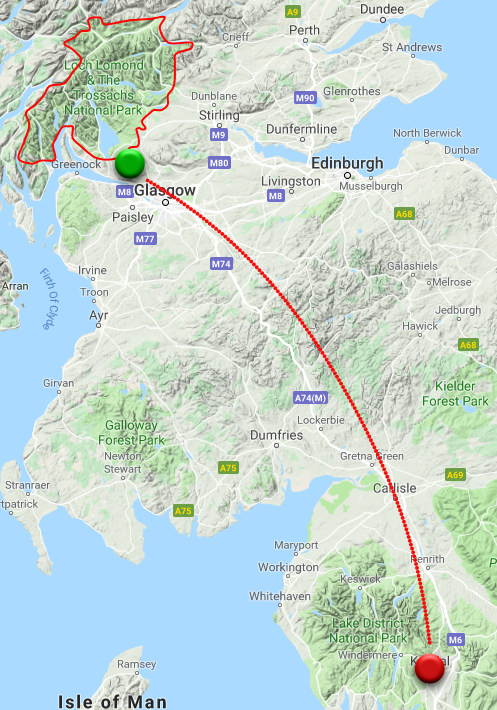 Cumbria to Loch Lomond & the Trossachs - A journey of 168 miles, 3 hours.