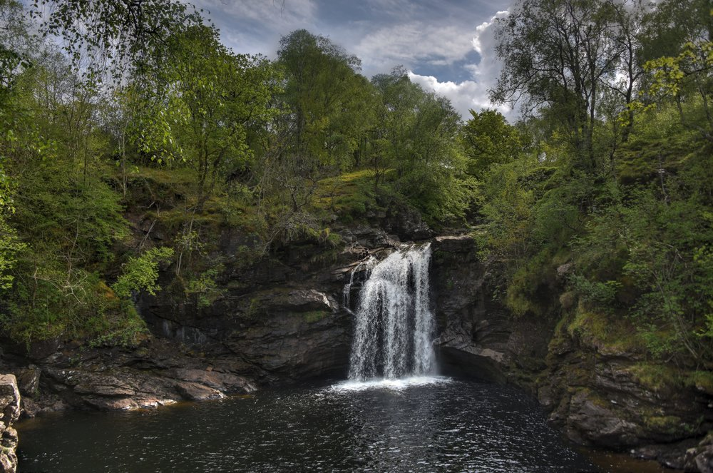 """""""Falls of Falloch"""" by August Schwerdfeger, licensed CC BY 4.0."""
