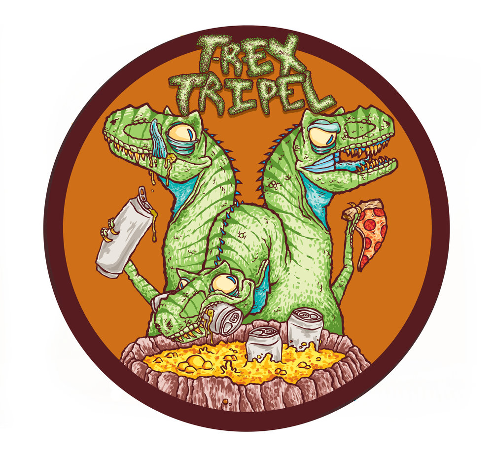 T-REX TRIPEL - Belgian-style TripelABV: 8.0%  IBU: 28Sweet notes of banana, marshmallow, fruit and subtle pepper. Our take on a Belgian-style Tripel has become a cult classic in Fayetteville, available at the Tasting Room and limited distribution.