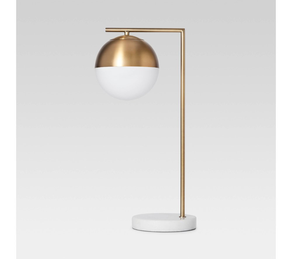 Geneva Glass Globe Lamp - I think this lamp would work well as both a table lamp and a desk lamp. The gold finish is so pretty, and the marble base just adds that extra glam. You can find it HERE.