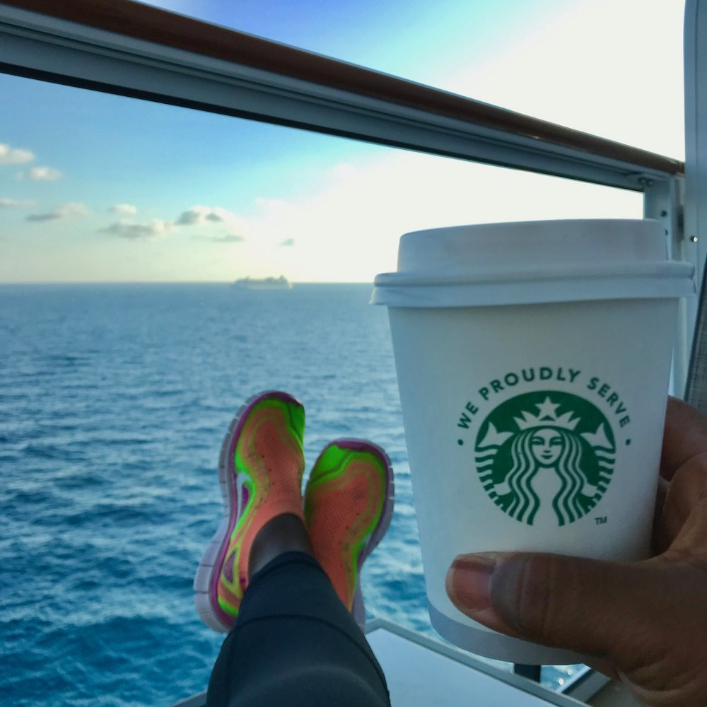 Caffeinate in your cabin with a cuppa from the onboard Starbucks