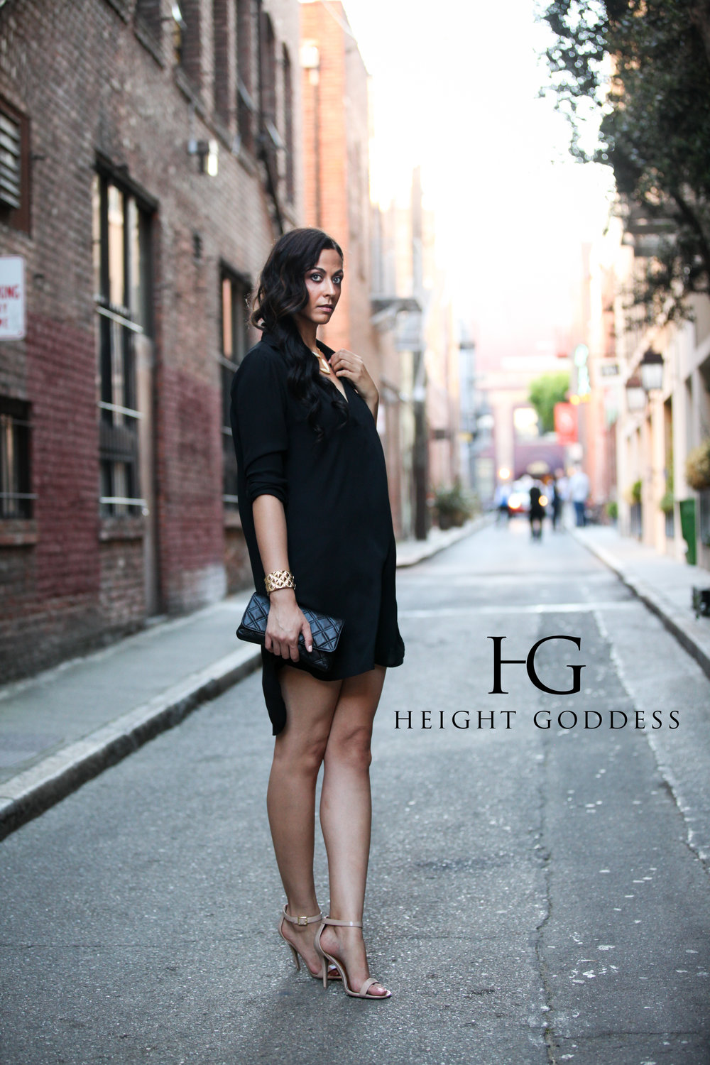Alicia Jay in HEIGHT GODDESS Black Boyfriend Shirt Dress.jpg