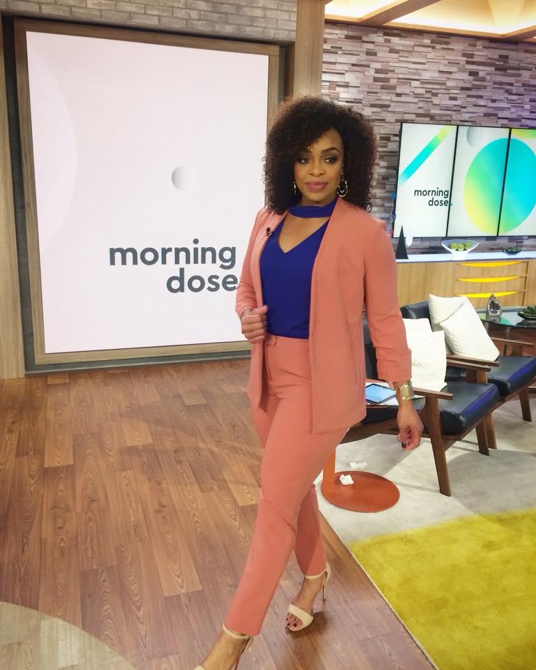 Laila Muhammad, on the set of Morning Dose