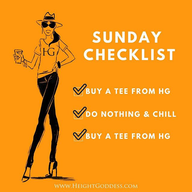 Now, this is a list I can roll with! ✔️. • • • #sundayfunday #sundayvibes #sundaychecklist #shopsmall #shoppingsmall #shopsmallsunday #sunday #donothingandchill #checklist #tallgirlthoughts #tallgirlhumor #graphictee #graphicteeoutfits #graphicteesforwomen #graphicteesarelife #graphicteesrock #lookoftheday #tallgirls #tallwomen #tall #womensgraphictee #talltribe #tallgirlmagic #tallgirlstyle #tallfashion #teamtall #tallandproud #ownit #heightgoddess #tallneverlookedsogood