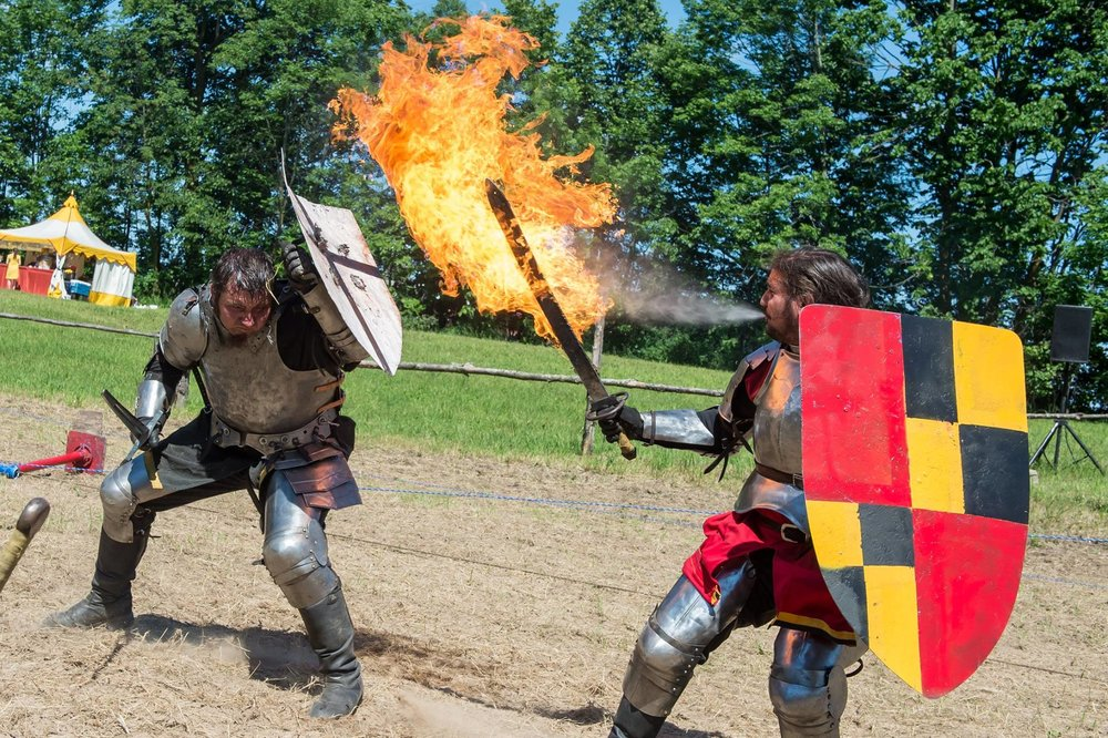 Jousting knights at the Door County Renaissance Faire