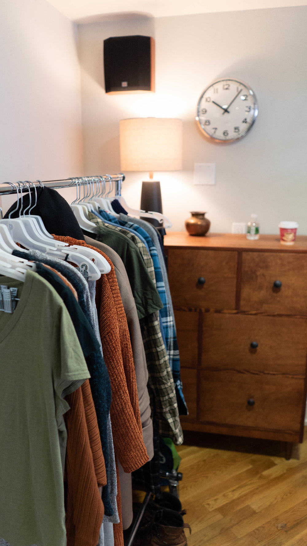 Wardrobe full of fall colors for the Dashlane shoot.