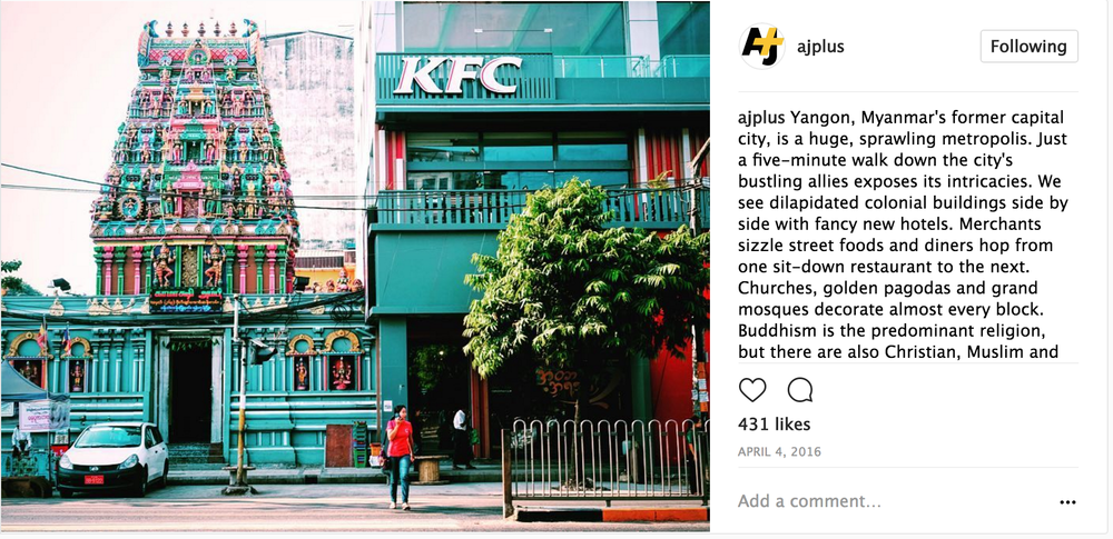 Part of a series I posted about cultural and religious diversity in Myanmar for AJ+'s Instagram account