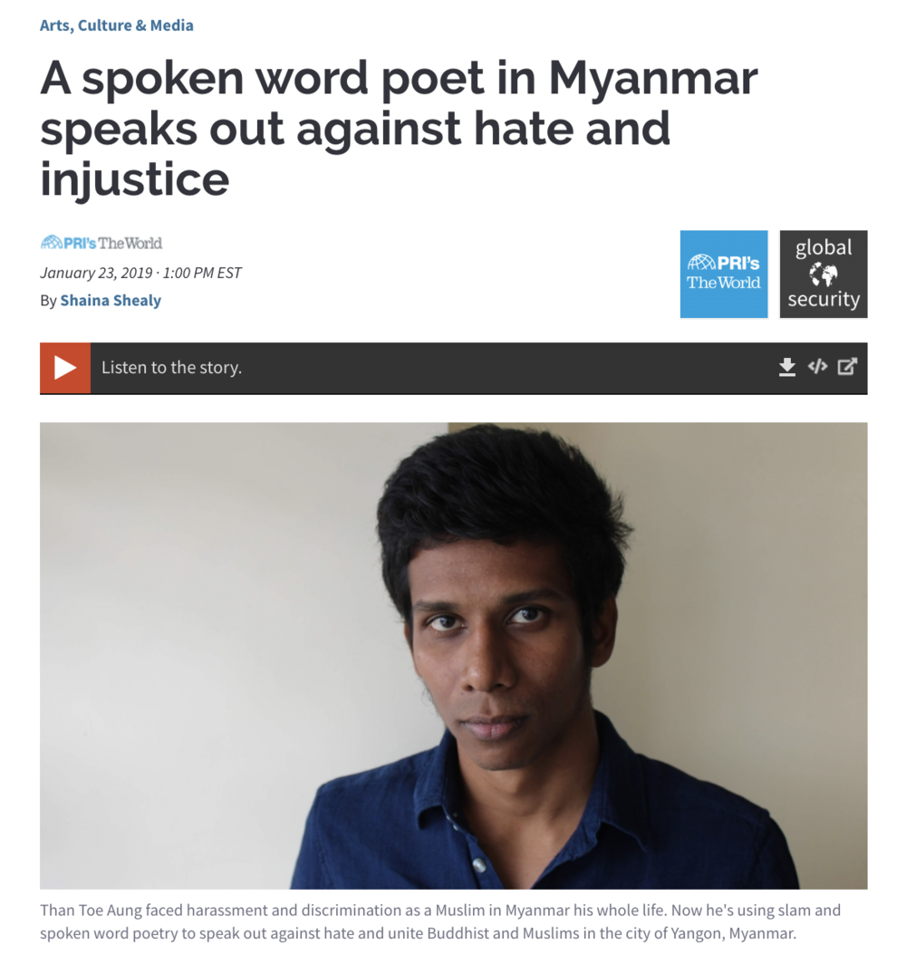 A spoken word poet in Myanmar speaks out against hate and injustice