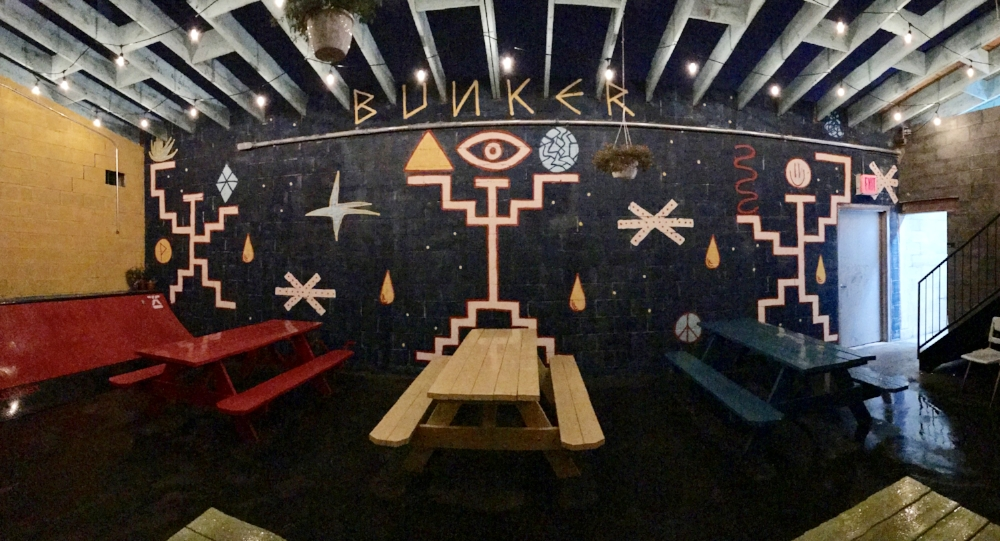 The outdoor space on a rainy night. Artwork by Mr. Pixote.