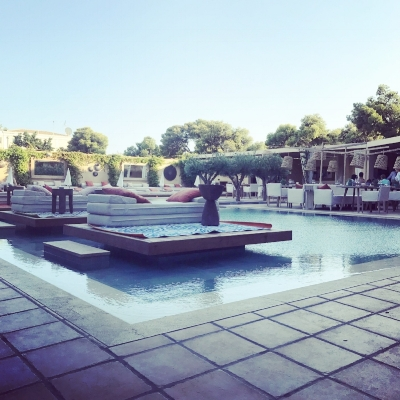 Pre-dinner drinks by the pool at the Margi Hotel on the Athens Riviera in Vouliagmeni.