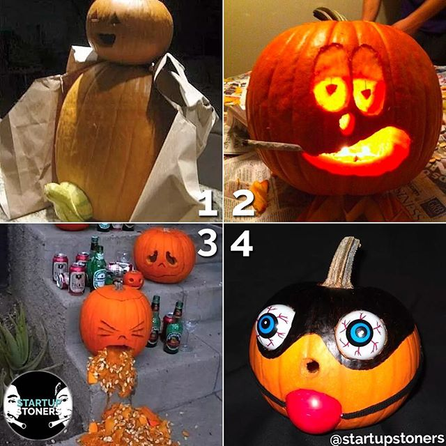Who did it best? 1, 2, 3, or 4? Cast your vote in the comments! #startupstoners #pumpkincarving
