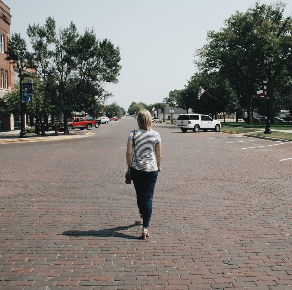Walking down Main Street, Geneva, NE