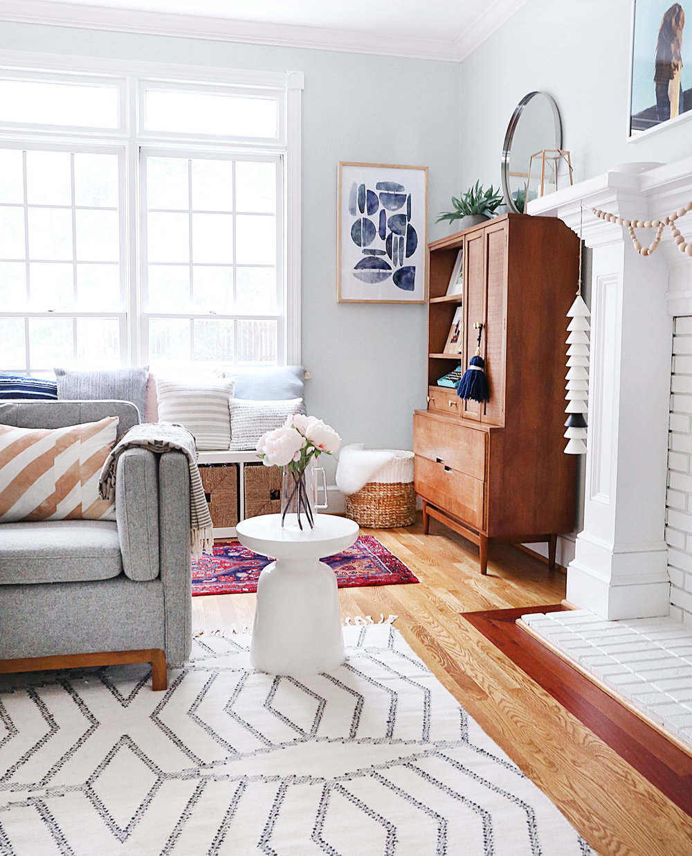 grey chair   /   side table   /    rug (similar)   /   wind chime