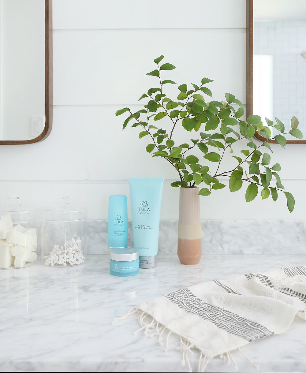 Glass Containers   |   Tula Purifying Cleanser   |   Tula Aqua Gel Cream   |   Tula Exfoliating Mask   |   Vase   |   Mirrors   |   Hand Towel