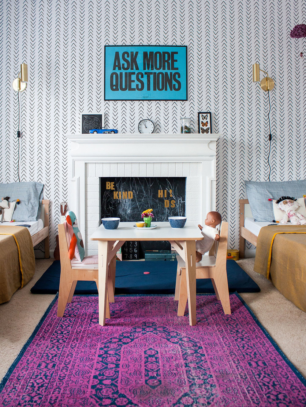 Ask More Questions Print   /   Wallpaper   /   Wooden Kid's Table & Chairs