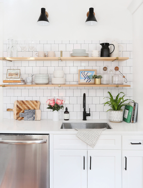 Planter   /   Matte black pulls   /   Cutting board   (similar) /   Faucet   /   Marble Mortar + Pestle   (similar) /   Bowls   /   Mugs   /   Soap   /   Sconces   /   Marble bowls   /   Decanter   /   Wine glasses   /   Hand towel   /   Speckled pitcher    /    Shelf Brackets
