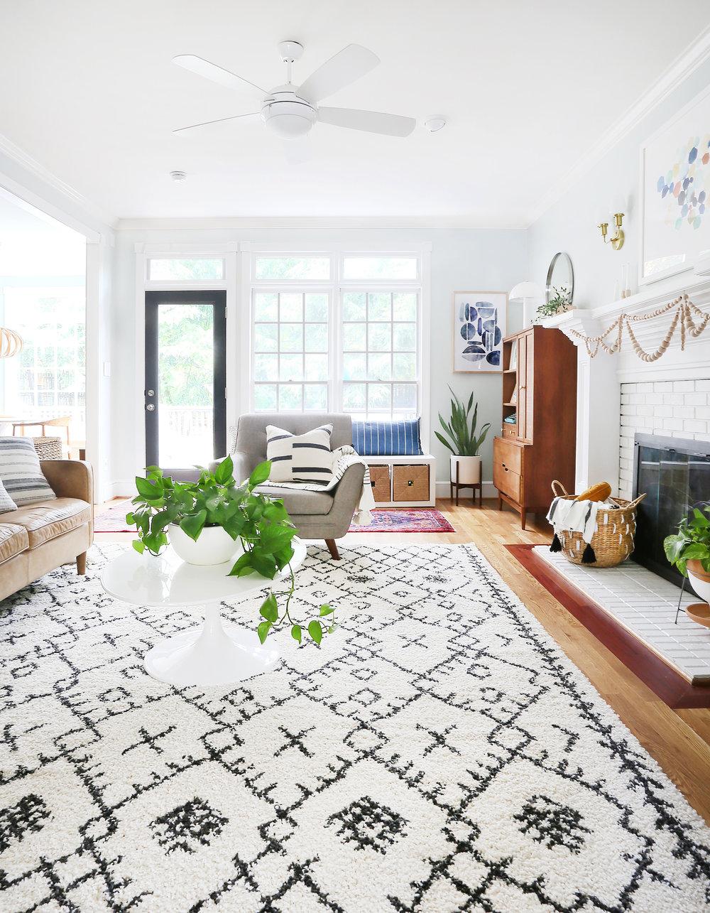 Rug   /   Coffee Table   /   Lumbar Pillow   /   Leather Sofa   /   Planter