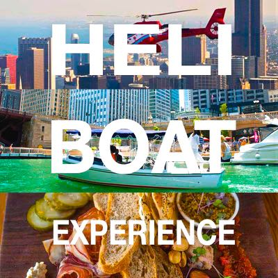 Heli-Boat Package - You and up to 9 of the coolest people you know can sail down the Chicago River in a Chicago Electric Boat like royalty, feasting on succulent meats and decadent cheese and wine from our friends at City Winery. After your cruise you and your crew will take a private helicopter tour. This is the best way to enjoy Chicago...