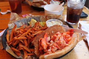 "Lobster Roll at the ""Barking Crab"" Boston Harbor"