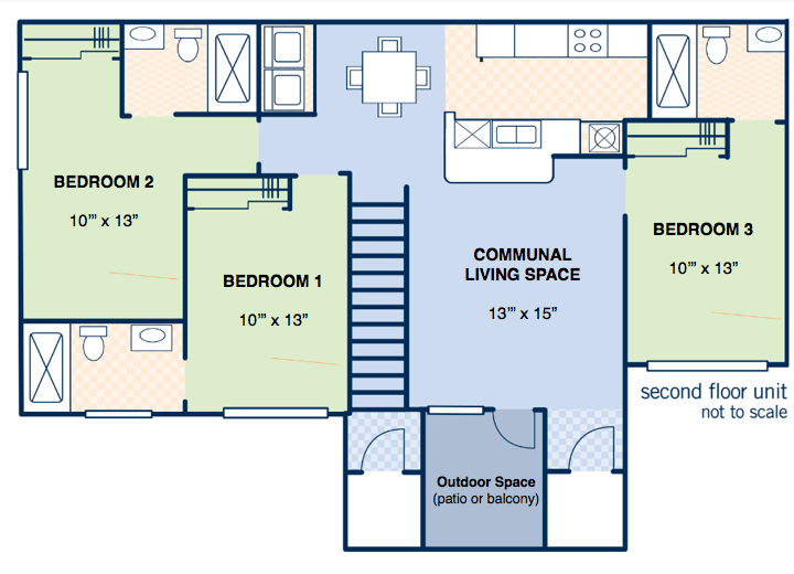 3 Bedroom Layout - APPROX. 1062 SQ.FT.