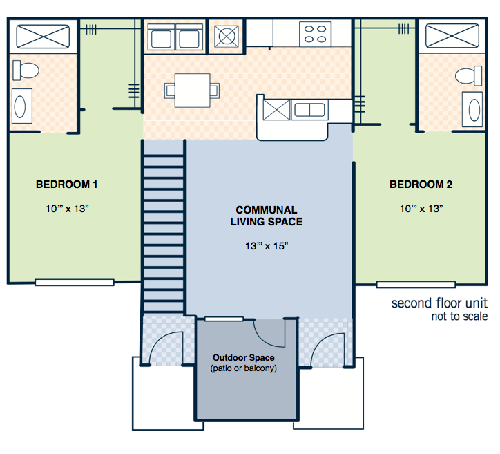 2 Bedroom Layout - APPROX. 1062 SQ.FT.