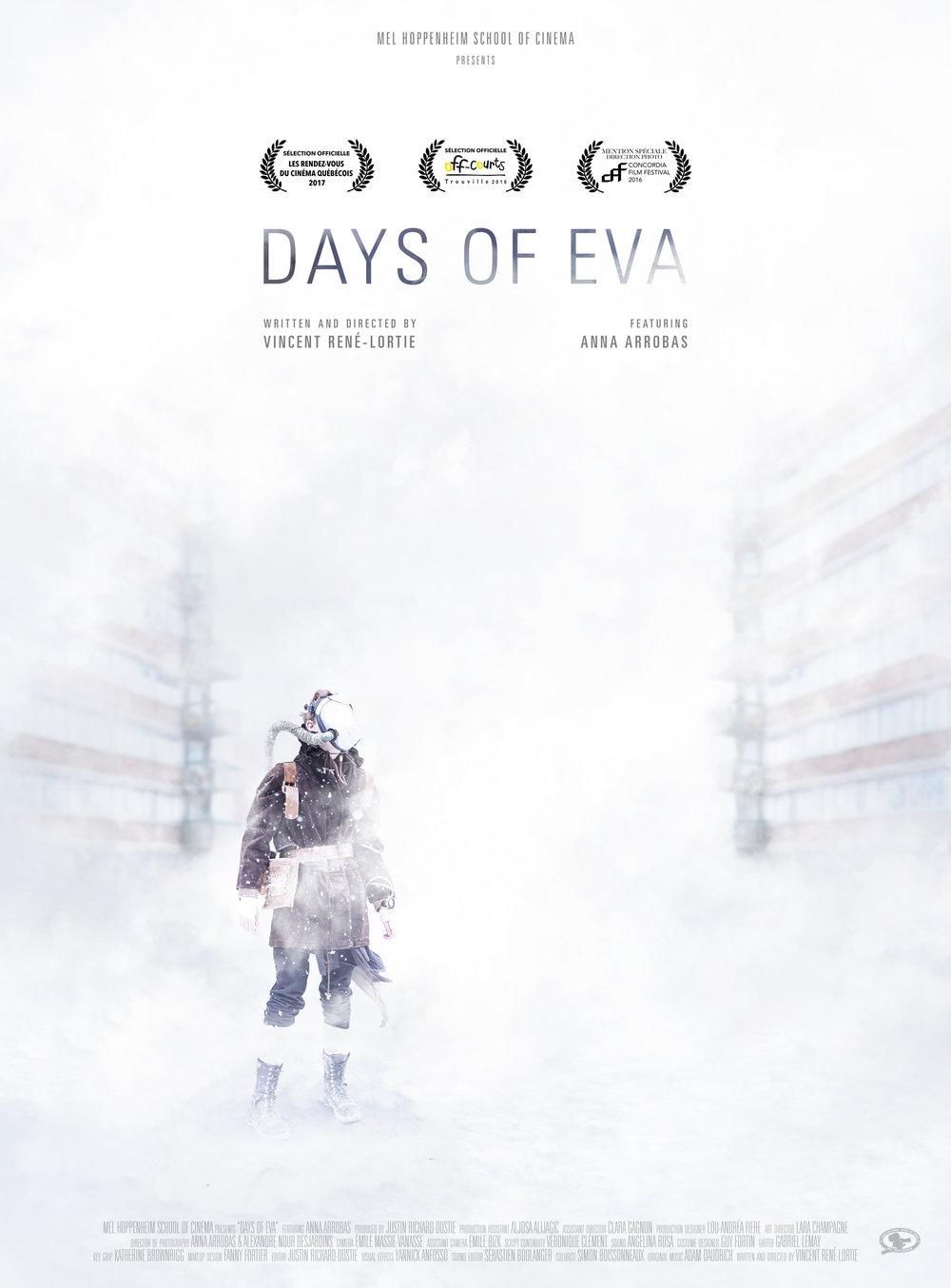 Days of Eva (2016) - Science-fictionSynopsisDepuis maintenant 11 ans, Éva habite seule dans un univers post-apocalyptique, sombre et hivernal. Elle a grandi au centre d'un immense immeuble de logement délabré, voisin d'un autre édifice semblable. Dans ce monde, l'air n'est plus respirable. Éva survit à l'aide de ses dernières réserves d'oxygène, mais le temps lui est aujourd'hui compté. Il ne lui reste qu'une seule journée et tout espoir d'un monde meilleur a disparu à ses yeux.Réalisateur : Vincent René-LortieProducteur : Justin Richard-DostieDirection de la photographie : Alexandre Nour & Anna ArrobasFESTIVALSOFF-COURTS TROUVILLE 2016LES RENDEZ-VOUS DU CINÉMA 2017CSC AWARDS - NOMINATION MEILLEURE DIRECTION PHOTO / ÉTUDIANTCCE - MEILLEUR MONTAGE / ÉTUDIANT