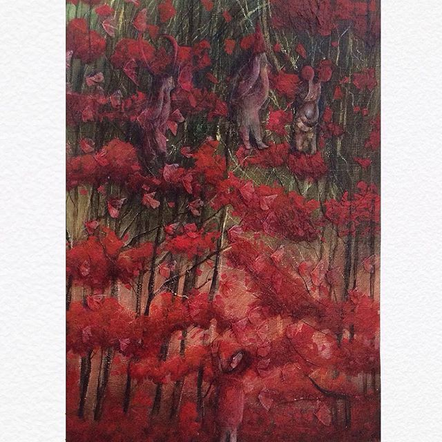 ..........................................❤️Red: ❤️Crying in the trees ❤️Why are you crying beasties? ❤️this is sold but more at Churchgate gallery- link in bio . . #art #artistsoninstagram #artist #artforsale #arte #artwork #instaart #artoftheday #illustration #childrensart #childhood #redridinghood #fairytale #monsters #mythical #fairytaleart #autumn #colours #red #ruby #blood #fire #leaves #forest #girl #beauty #kindness