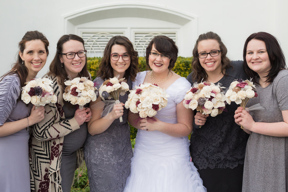 Courtney Volksen Photography | Winter wedding at LDS St. George temple bridesmaids & sisters