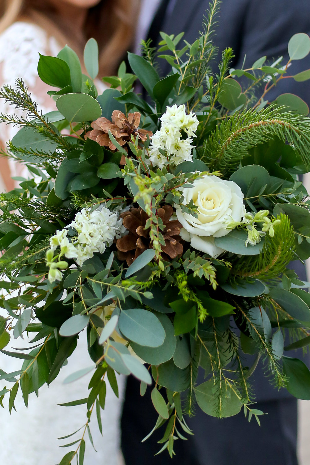 Courtney Volksen Photography   Beautiful green florals from the Rose Shop in Idaho Falls