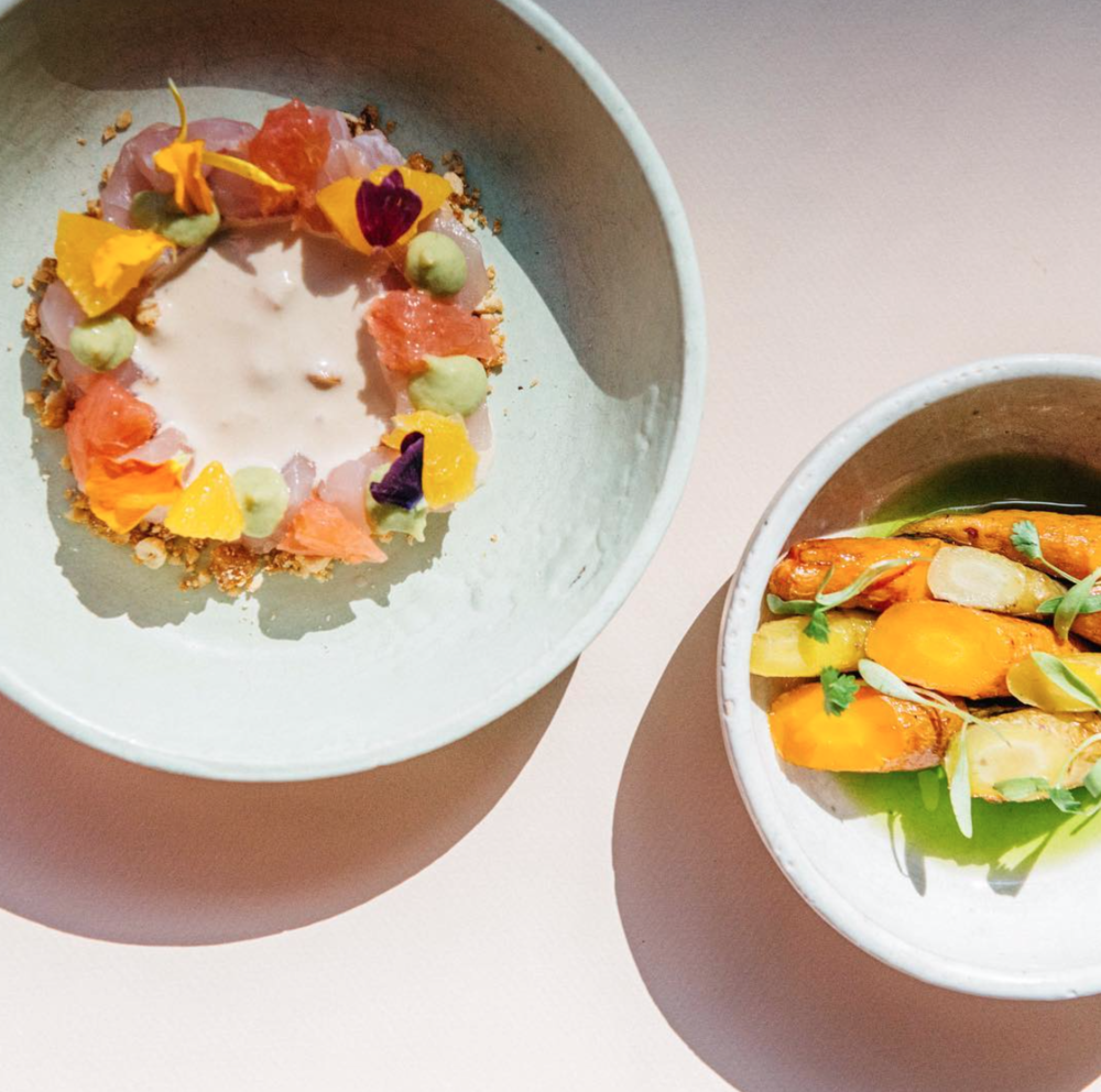 Coconut Ceviche, Ají Amarillo | Spiced Roasted Carrots, Chive oil