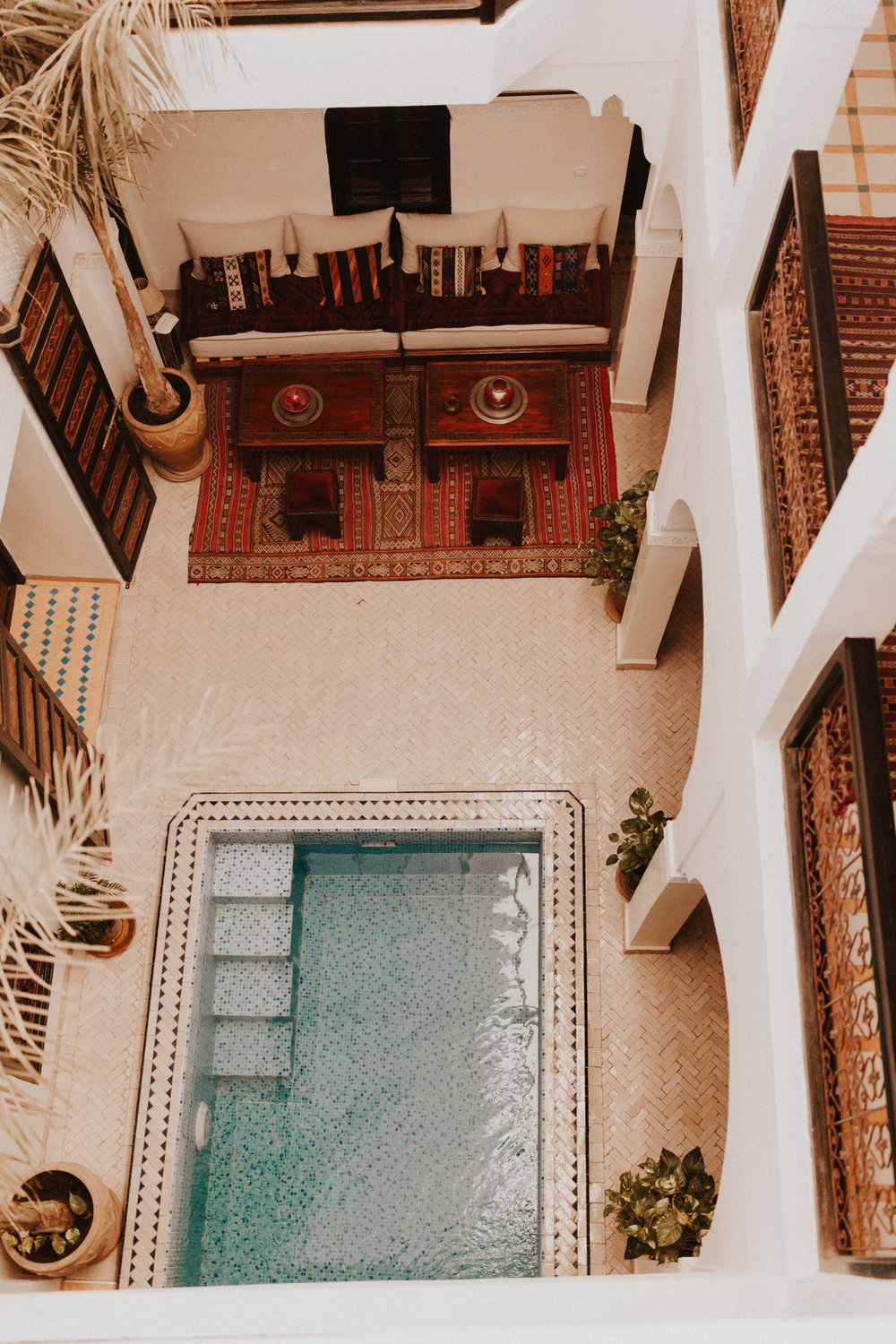 Looking down on our Riad's courtyard from the second story