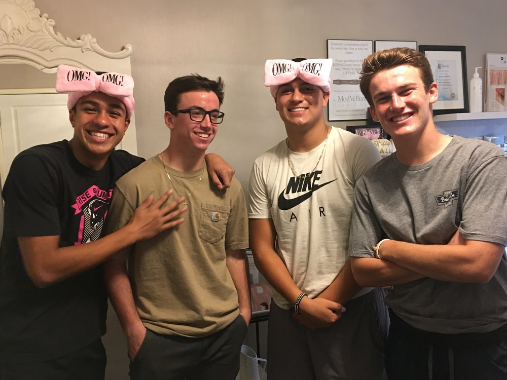 Real guys get Facials - Recently, four senior high school football players graced me with their presence and had facials. Each had such different skin, and different concerns. They all looked good in the OMG headbands by DoubleDare. #realmengetfacials #doubledare