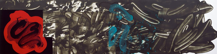 David Reed, #576, 2007, oil and alkyd on polyester, 36 x 144 inches