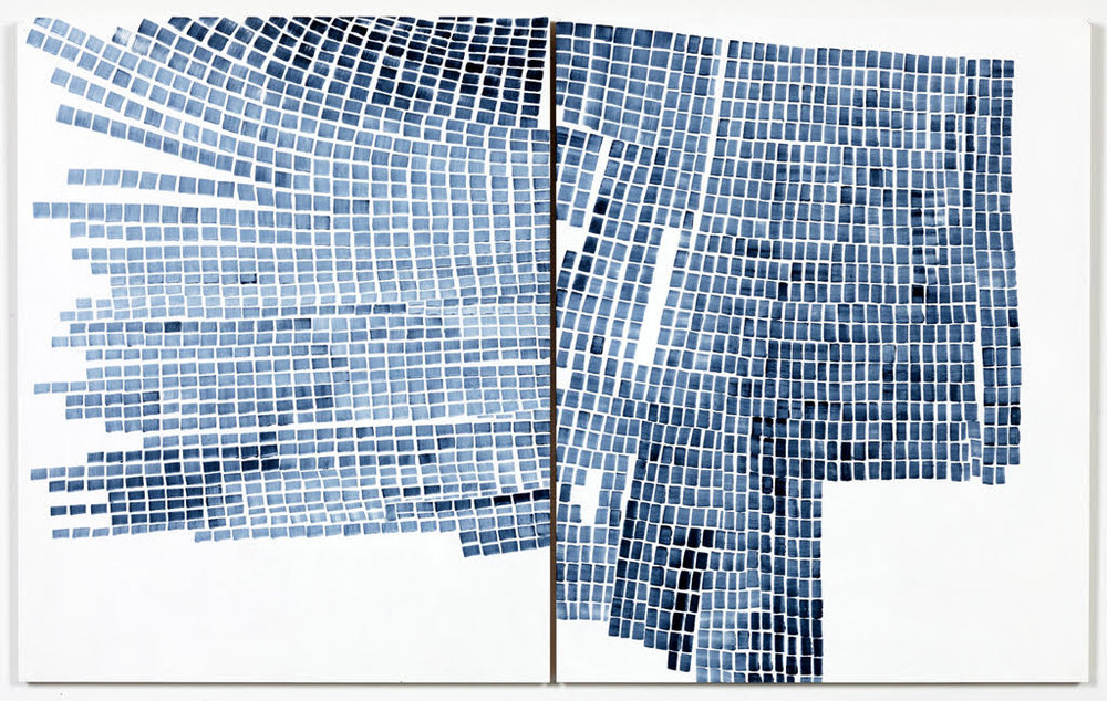 Marjorie Welish,  Before After Oaths Gray 4 , 2013, acrylic on panel (diptych), 20 x 32 inches