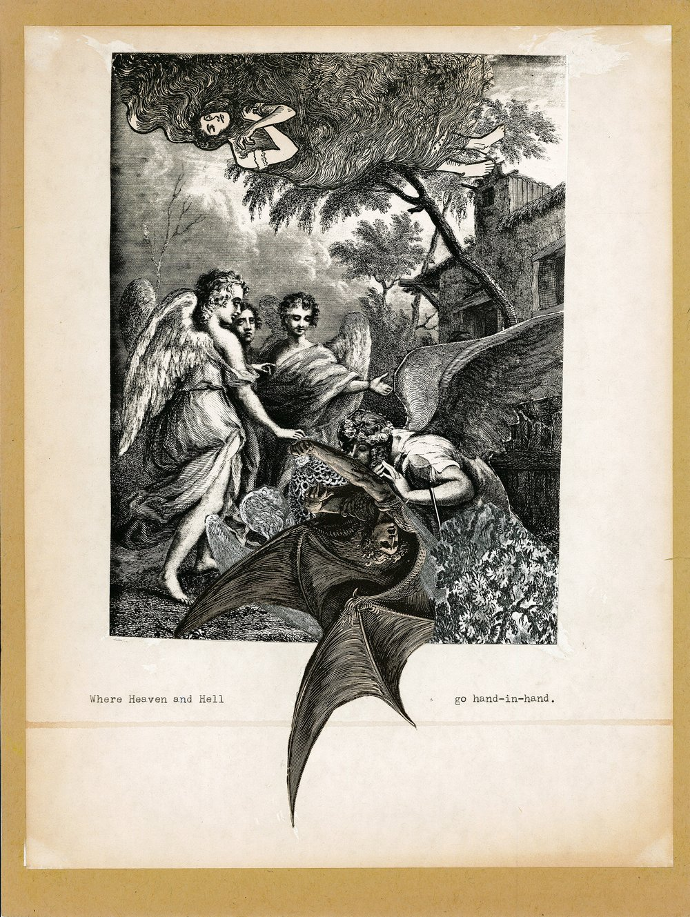 Helen Adam,  In Harpy Land  (excerpt), 1976–77, collage. Credit: The Poetry Collection of the University Libraries, University at Buffalo, The State University of New York.