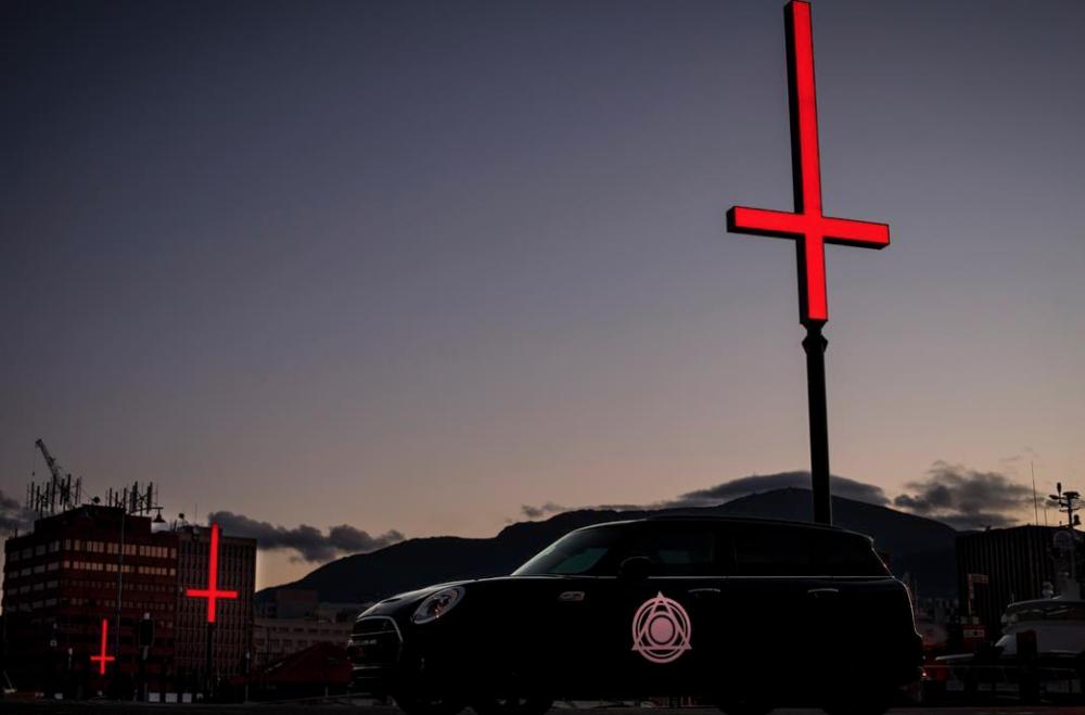 Inverted crosses installed along Hobart's harbor, photo credit: MoNA
