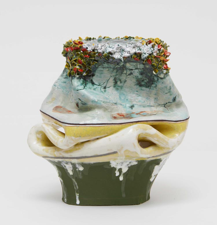 Flux , 2018, clay, glaze, 7 3/4 x 7 1/4 x 7 inches