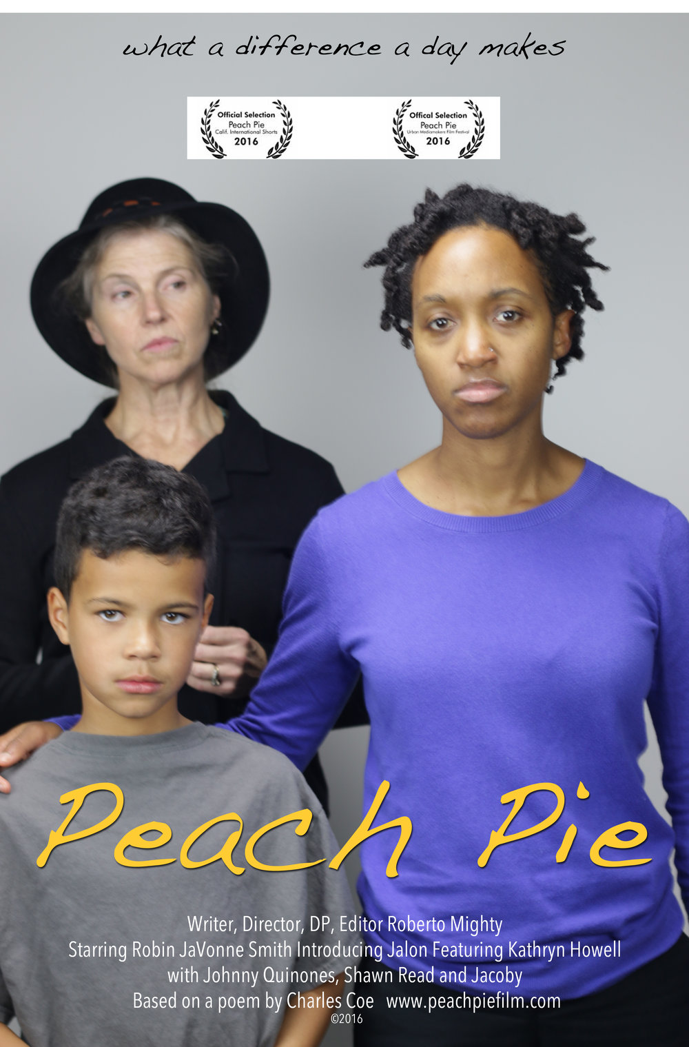 Peach Pie, an original film written and directed by Roberto Mighty, was filmed almost entirely at Celestial Media Studios in Boston. Several different sets were designed for the production, including two different kitchens; a little boys' room; a soldier family's living room; and a dining room. Peach Pie debuted at the California International Shorts Festival in North Hollywood, California, and the Urban Mediamakers Film Festival in Atlanta, Georgia. More info.