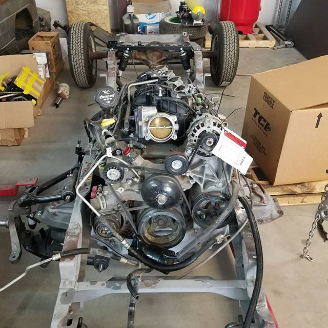 The engine is mocked up in the p10 frame . . . Few more things to do  #skin #bones #skinandbones #skinandbones #skinandbonesfab #fabrication #welding #patch #chevy #cheverolet #p10 #chevytruck #c10 #lsswap #lqswap #v8 #v8swap