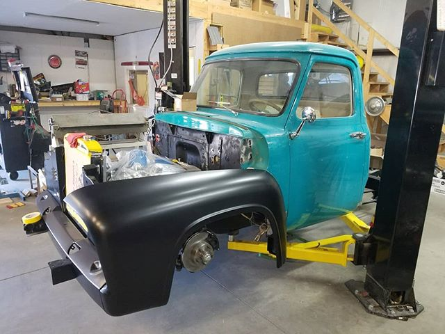 Starting to look like a truck again  #skin #bones #skinandbones #skinandbones #skinandbonesfab #fabrication #welding #patch #ford #ford302 #fordf100 #f100 #ford302 #302stroker #1954f100 #1954ford