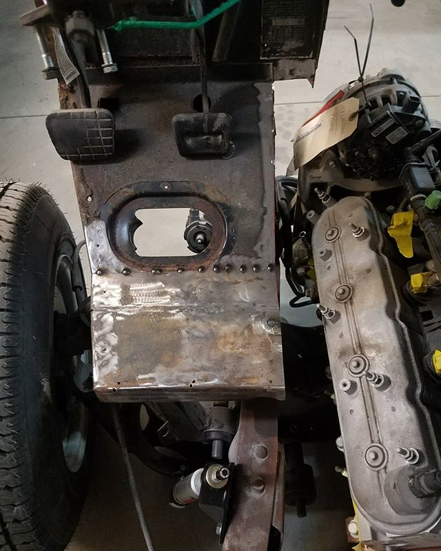 Needed to make some engine and exhaust clearance on the p10 steering and pedal box assembly. As you can see from pictures it was touching the engine and no way was the exhaust going to fit.. Need to still make bracket for bottom and finish it up . . . #skinandbones #skinandbones #skinandbonesfab #fabrication #welding #patch #customfabrication #custom #lsengine #lsswap #chevy #cheverolet #p10