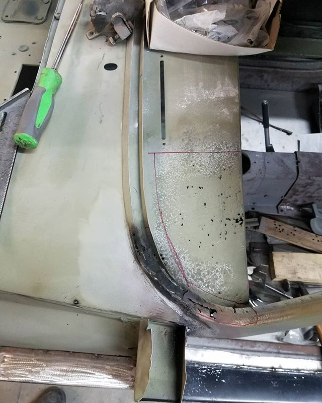 Windshield and dash repair on the 1959 mg A . . . #skin #bones #skinandbones #skinandbonesfab #fabrication #welding #patch #mga #mgacoupe #mg #fablife #restoration