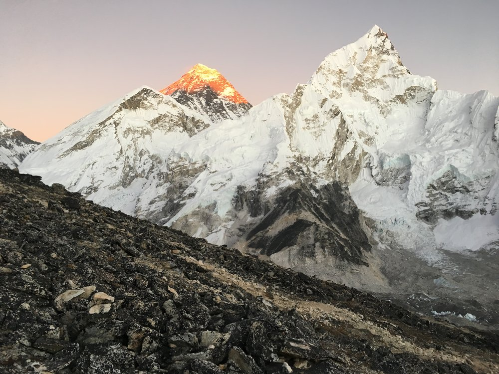 Everest as seen from Kala Patthar (18,514ft/5643m, highest point of our trek) at sunset